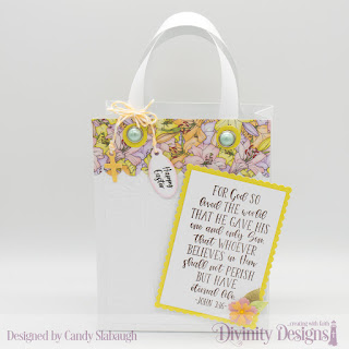 Divinity Designs Stamp Sets:  John 3:16,  Festive Favors, Festive Favors Tag Sentiments  Custom Dies:  Card Caddy & Gift Bag, Gift Bag Handles & Topper, Scalloped Rectangles, Rectangles, Festive Favors (tag)  Embossing Folder Die/Duo:  Cross  Paper Collection: Spring Flowers 2019