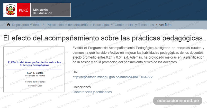 REPOSITORIO MINEDU: El efecto del acompañamiento sobre las prácticas pedagógicas [.PDF]