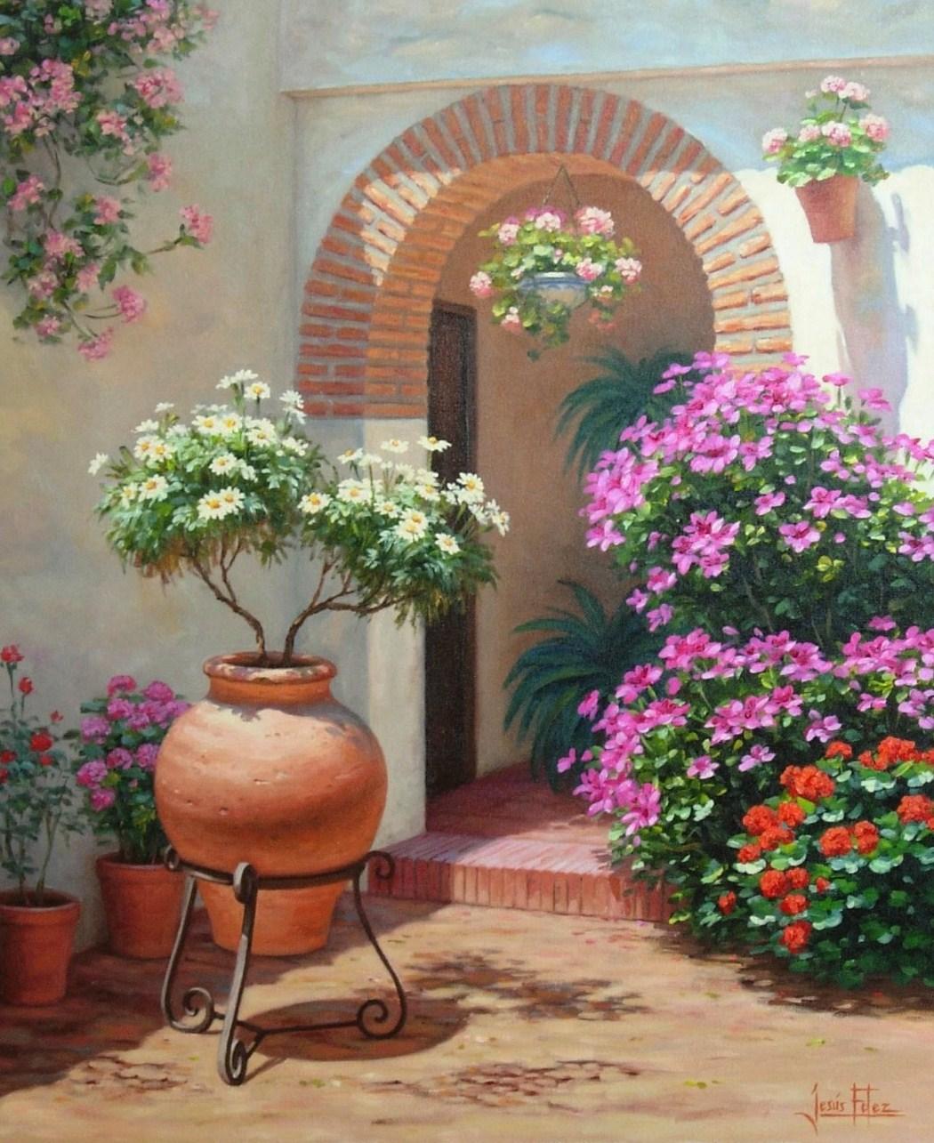 Pintura Moderna Y Fotografia Artistica Paisajes Con Flores En Oleo