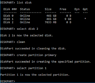 Diskpart select partition screenshot