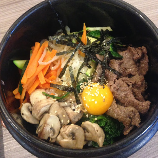 Beef Bibimbap at Sarangchae Korean restaurant in Nottingham,