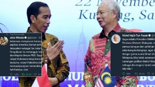 Netizen Malaysia Geger Bandingkan Statemen Perdana Menteri Najib dengan Presiden Jokowi Soal Klaim Jerusalem oleh Israel dan Trump, Lantaran Ini Sampai Ada yang Bilang: Beda kelas, Bersyukurlah WNI punya Presiden Model JKW.