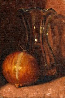 Oil painting of a tulip-shaped glass vase beside a brown onion.