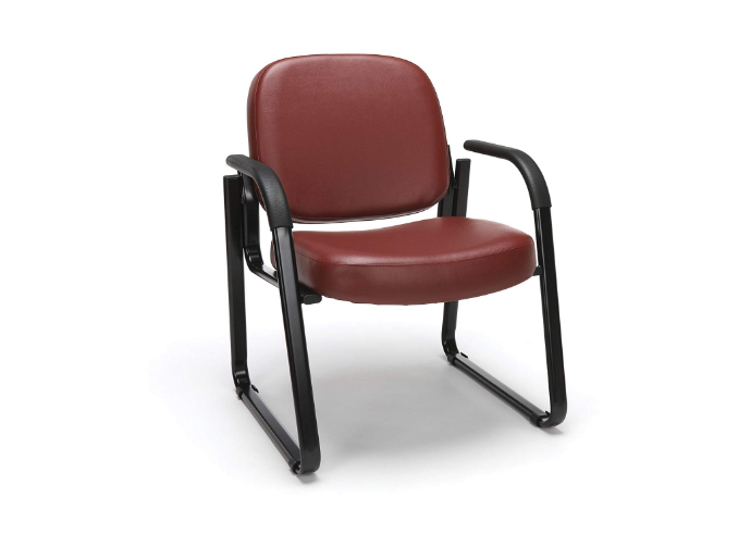 OFM Reception Chair with Arms - Anti-Microbial/Anti-Bacterial Vinyl Guest Chair, Wine (403-VAM)