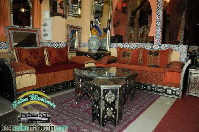 Banquette en bois pour salon excellent dcor moderne et for Salon marocain avec dossier