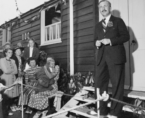 Photograph of Lieutenant Colonel W. A. G. Burns at the opening of North Mymms Cricket Club's new pavillion (an ex army hut given by Mowlems, on 2 August 1948 Image courtesy of NMCC