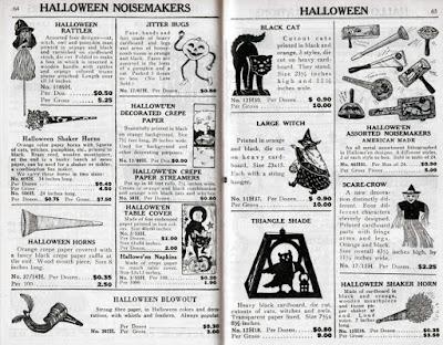 Resource catalog for vintage Halloween collectibles that contains Beistle's witch decoration as well as lanterns, crepe, noisemakers, etc.
