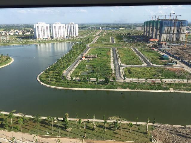 Toàn cảnh view hồ 16ha nhìn từ chung cư HH03 - B1.3 Thanh Hà  chung cư HH02 - B1.4 Thanh hà Đường 30m đi qua chung cư HH03 - B1.3 và HH01 - HH02 B1.4 Thanh Hà đã được trồng cây rất đẹp
