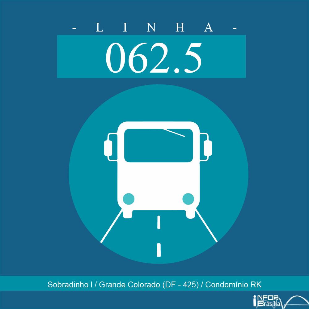 Horário de ônibus e itinerário 062.5 - Sobradinho I / Grande Colorado (DF - 425) / Condomínio RK