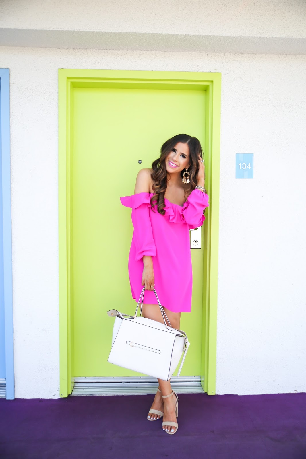 amanda uprichard dress joanna dress, amanda uprichard hot pink dress,steve madden carrsen sandal, spring fashion 2106, pinterest spring outfit ideas, easter dress ideas 2016, easter dresses 2016, easter dresses nordstrom 2016, pinterest hot pink dresses, pinterest vacation california outfits, david yurman chain link bracelet, brunette balayage hair, medium long layers haircut, medium haircut brunette balayage, how to curl hair with curling iron, hot pink dresses for spring, nordstorm pink dresses, emily gemma, celine ring bag white, elizabeth cole fringe earrings, the sweetest thing, the saguaro palm springs,