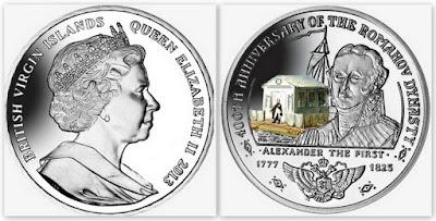 Памятная монета: император России Александр I, 10 долларов. Серия: 400 лет династии Романовых. Британские Виргинские острова