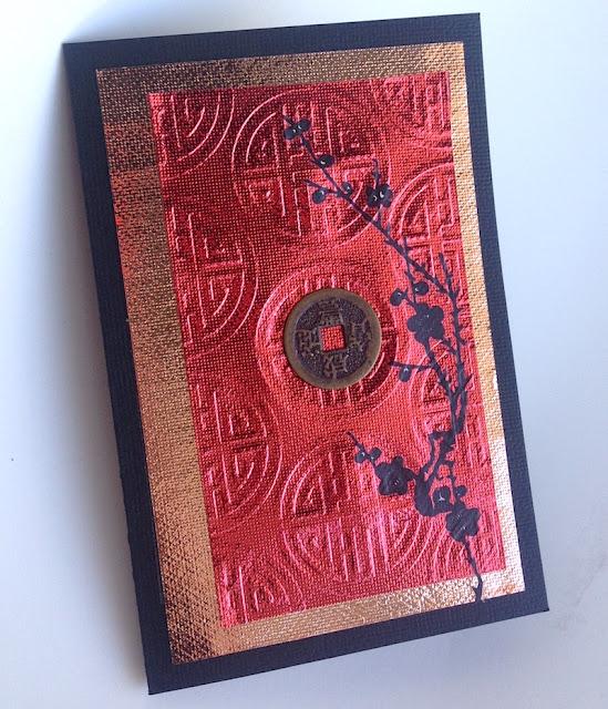 Metallic Asian-themed greeting card