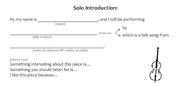 Elementary orchestra Solo/Ensemble introduction sheet