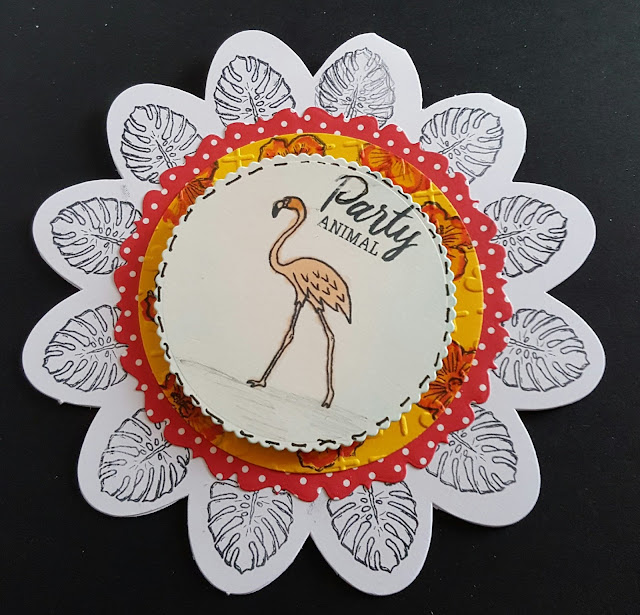 Party Animal Flamingo - Hand coloured 6in flower card