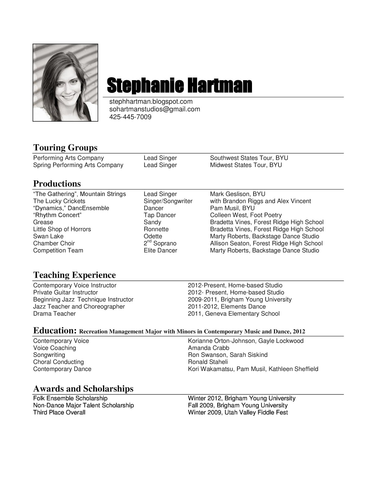 resume music by musician resume sample sample resumes - Sample Dancer Cover Letter