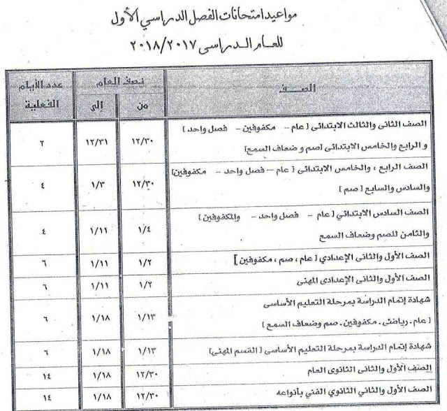 جداول امتحانات آخر العام الترم الثانى محافظة الجيزة جميع الصفوف 2018