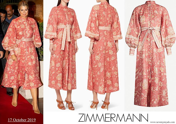 Queen Maxima wore Zimmermann Veneto Border Paisley Print Linen Dress