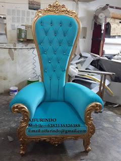 Indonesia Furniture Exporter,Classic rococo chair Furniture,French Provincial chair blue velvet and gold leaf Furniture Indonesia code A105