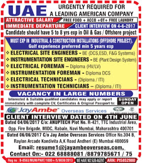 Oil & Gas Offshore project jobs in an American Company in UAE