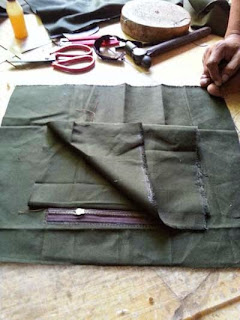 membuat linning back pack