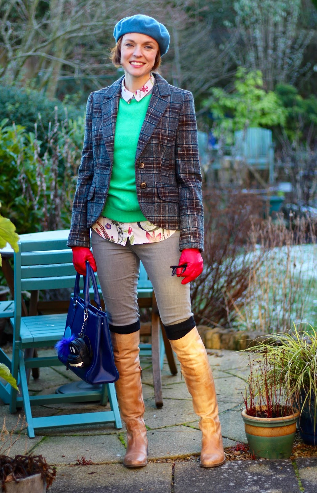 Geek Chic in Grey and Green | Tweed Jacket, Blue Eye Bag and OTK Boots | Fakefabulous