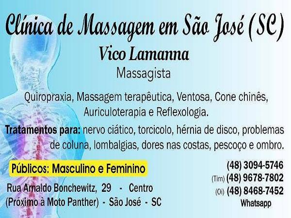 Massoterapia, Quiropraxia, Massagem Terapêutica em São José SC