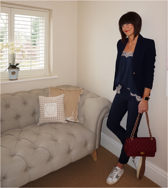My Midlife Fashion, Zara Navy Waffle Blazer, Apple Sports Watch, Marks and Spencer lace trim camisole, cigarette pants, golden goose trainers, chanel look a like bag