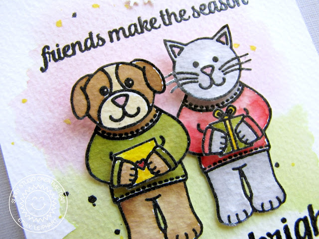 Sunny Studio Stamps: Merry Sentiments & Sending My Love Cat & Dog Christmas Card by Emily Leiphart.