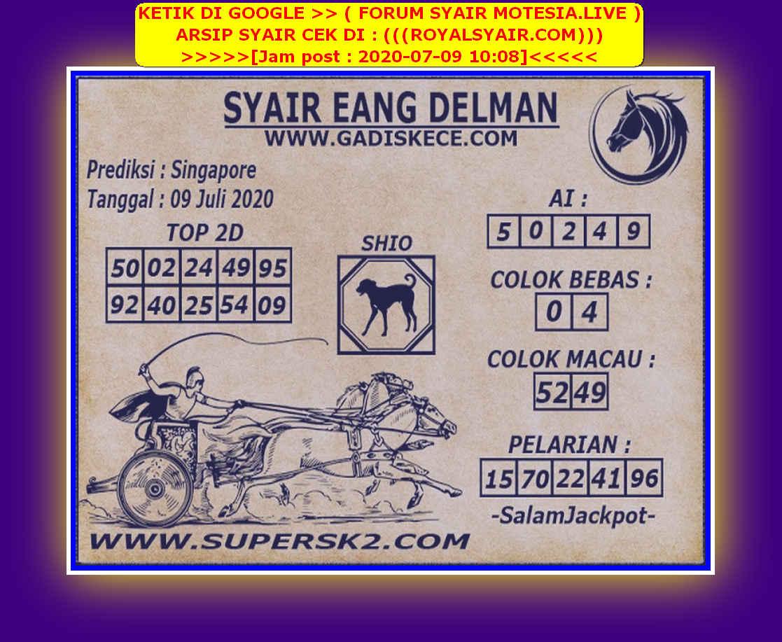 Kode syair Singapore Kamis 9 Juli 2020 148