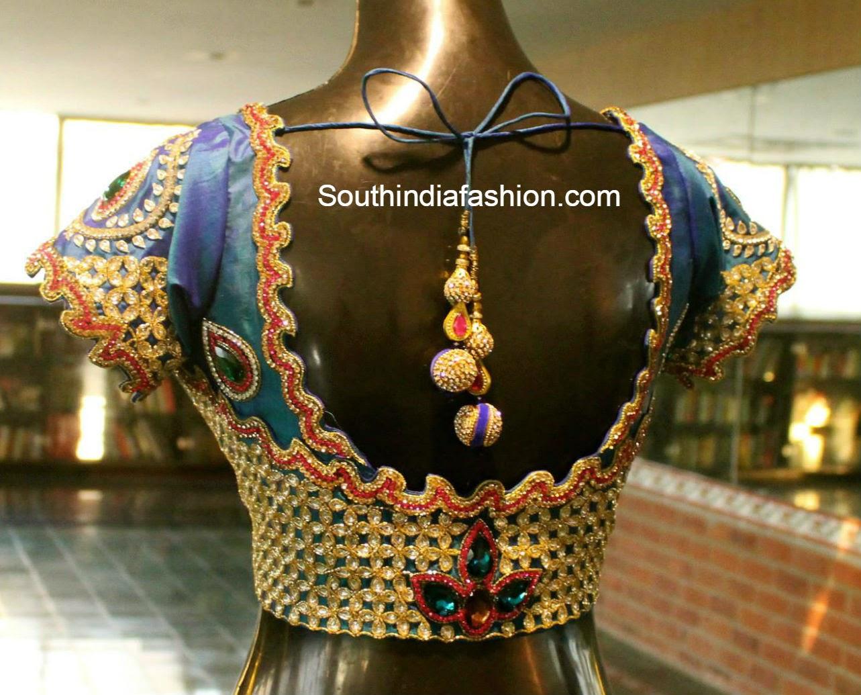 heavy kundan work blouse � south india fashion