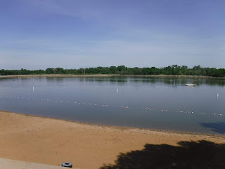picture of the sandy beach at Brown's Lake near Salix, Iowa