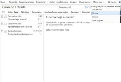 configurar o painel de leitura do Hotmail
