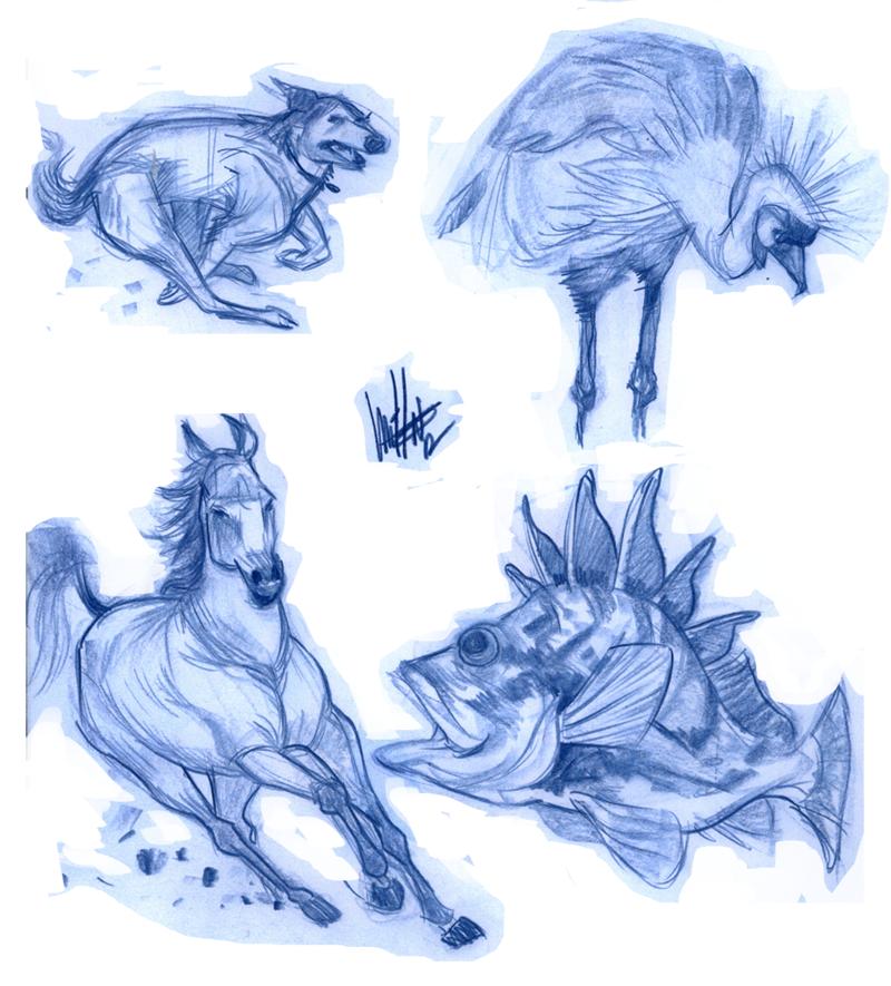 Surprise Blue Pencil Sketches