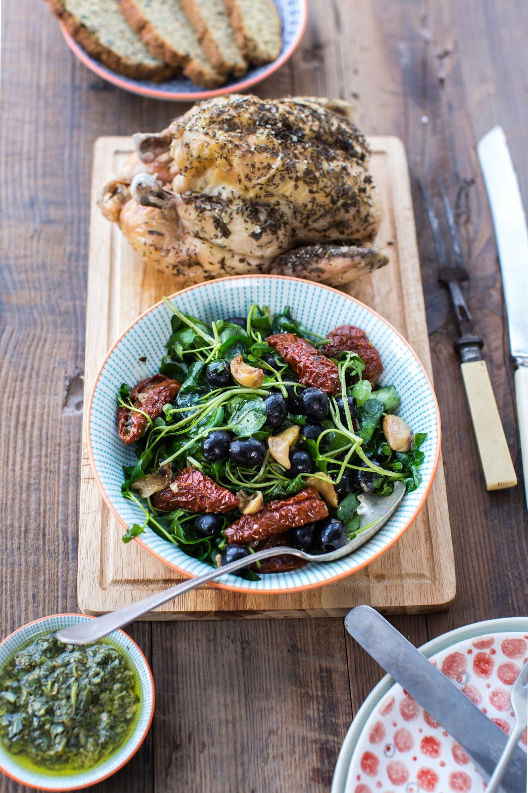 Italian Herb-Roasted Chicken With Watercress, Sun-Blushed Tomatoes And Salsa Verde