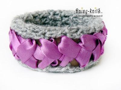 Brazalete Crochet con Cinta de Raso