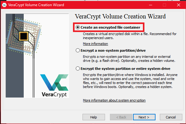 create VeraCrypt encrypted volume