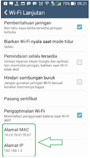 Melihat IP Addres Android