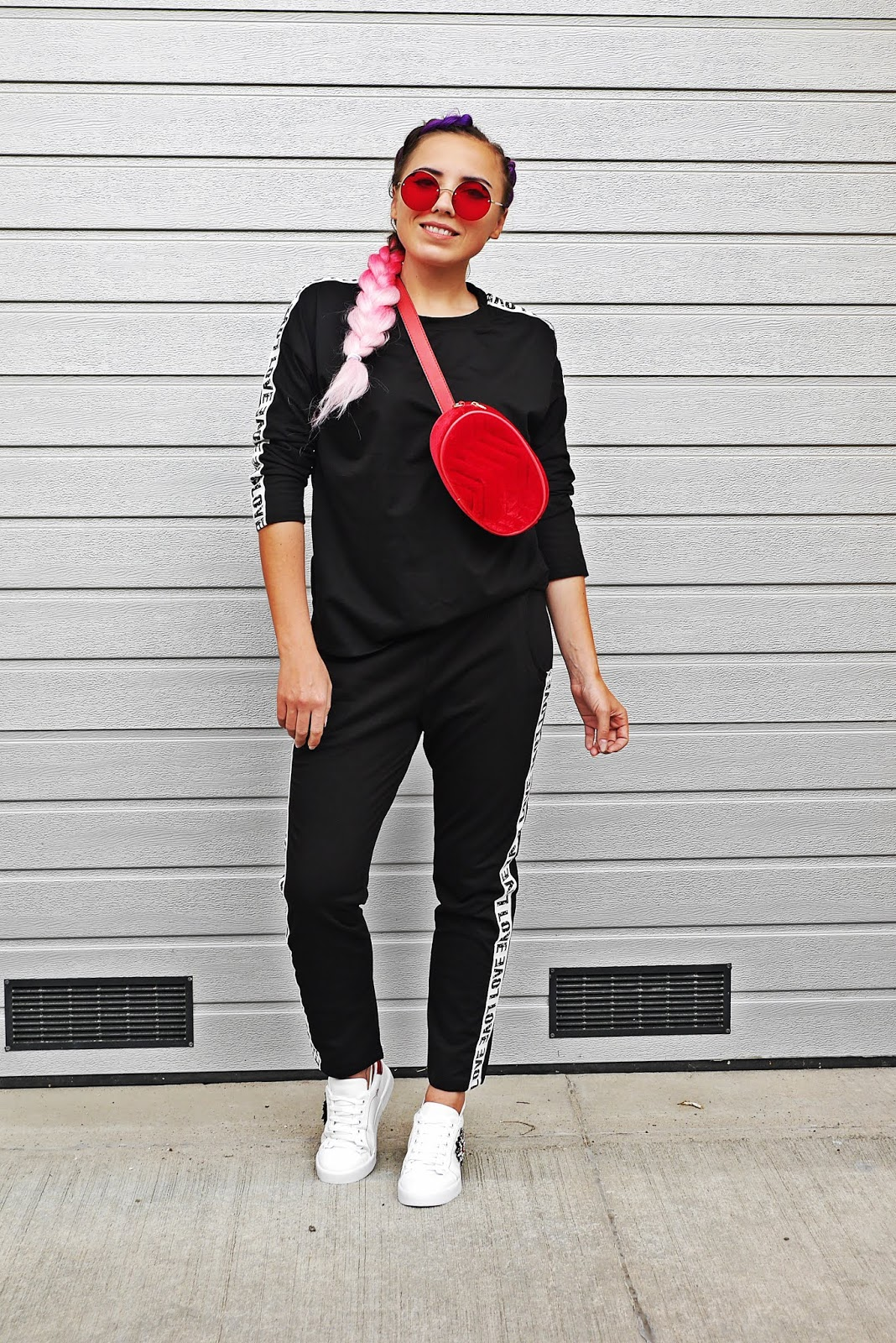 red bag sportychick style pants ombre braids hair karyn fashion blogger