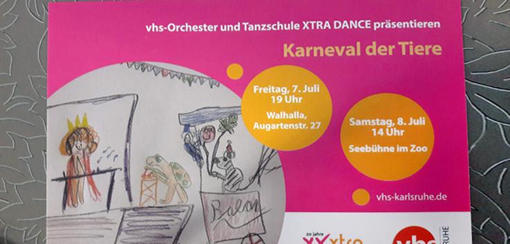 """Postkarte für die Veranstaltung """"Karneval der Tiere"""""""