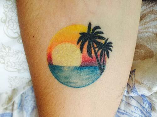 güneş manzarası dövme sunset tattoo