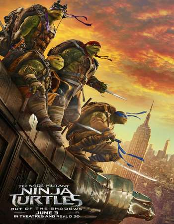 Poster Of Teenage Mutant Ninja Turtles Out of the Shadows 2016 ORG Dual Audio 450MB BRRip 720p ESubs HEVC Free Download Watch Online