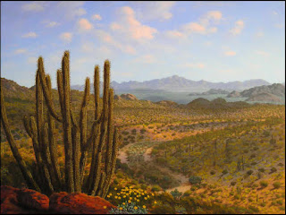 desert,landscape,art,painting,organ pipe cactus,Organ Pipe National Monument,AZ,Arizona,flowers,wildflowers
