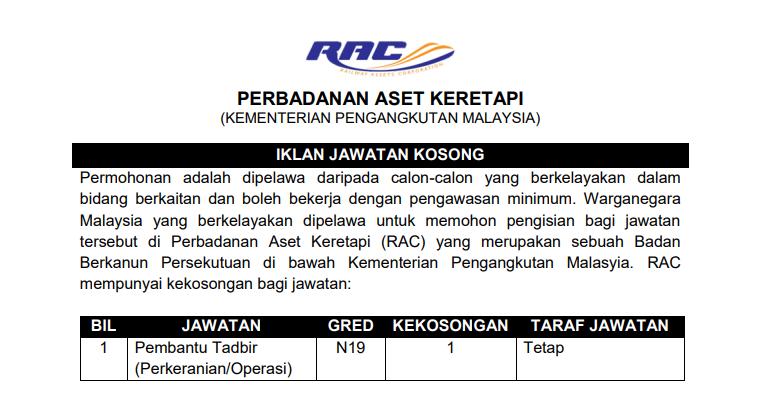 Jawatan Kosong di Perbadanan Aset Keretapi RAC - Kerani & Jurutera