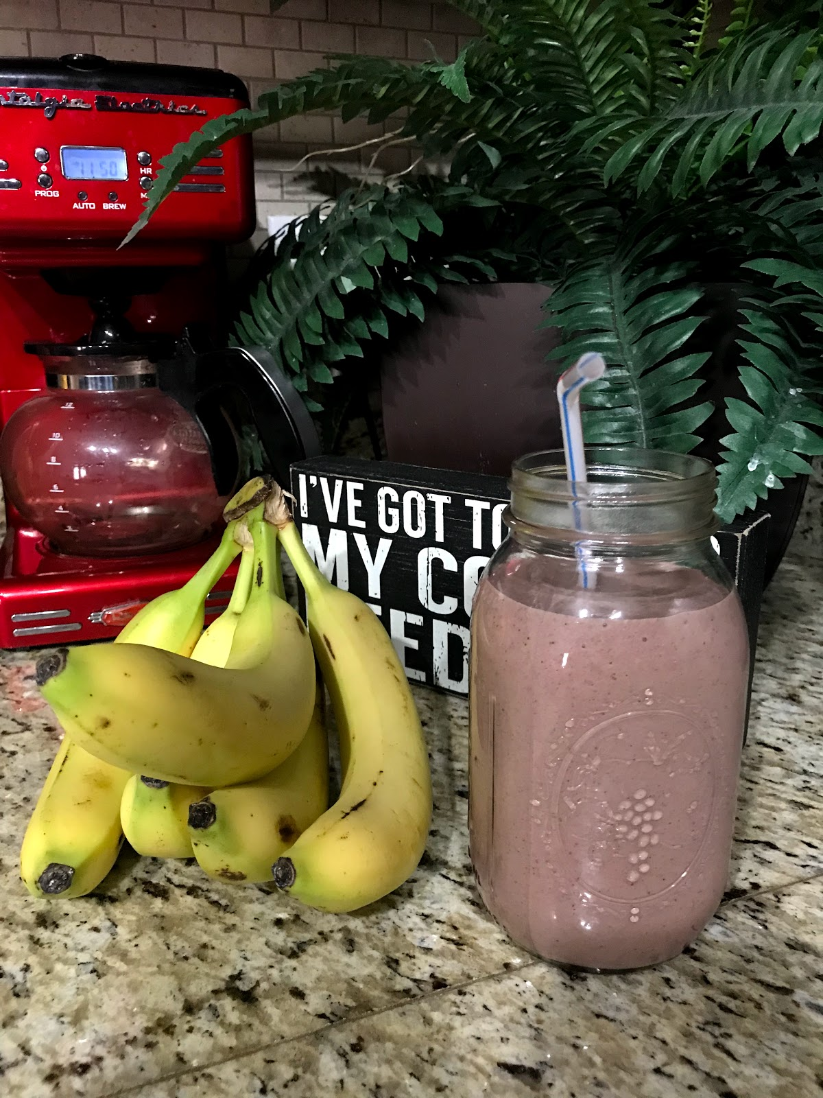 Image: Bananas, Smoothie Drink Coffee Pot In Back ground for blog post.