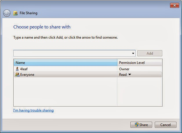 How to share a folder in Windows 7