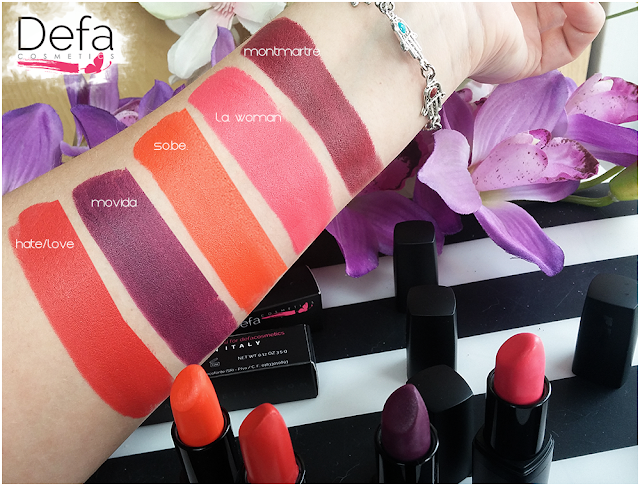 swatches Defa cosmetics lipstick
