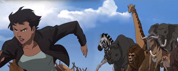 Vixen correndo determinada em meio a um vilarejo em ruínas. O céu é azul e o sol brilha forte entre as nuvens brancas. Atrás dela, uma horda de animais da savana segue seus passos: uma zebra, um rinoceronte, um leão de olhos negros, uma girafa, um antílope, um elefante, um leopardo e outros que não aparecem inteiramente na imagem. Detalhe: desta vez são animais reais, e não produzidos pela aura do colar (até porque ela não está usando ele).