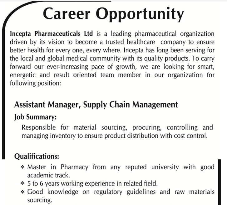 Incepta Pharmaceuticals Ltd  Assistant Manager Supply Chain