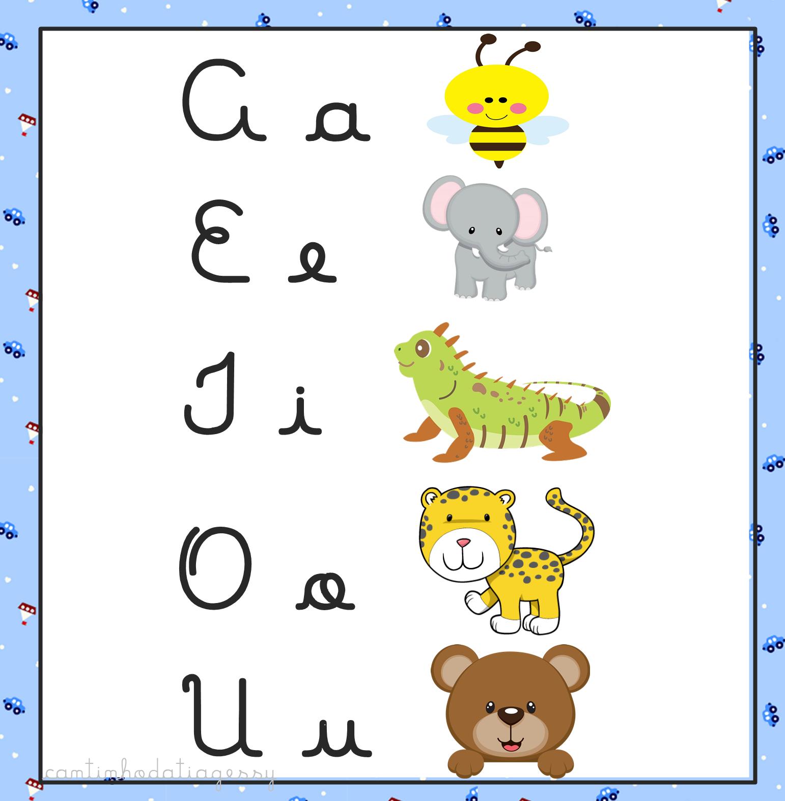 Cartaz Das Vogais Para Imprimir 4 Formas De Letras Cantinho Da