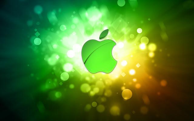 Lichtgevende Apple wallpaper met groen logo